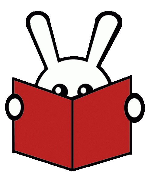Adventures Underground Logo, a bunny with a book.
