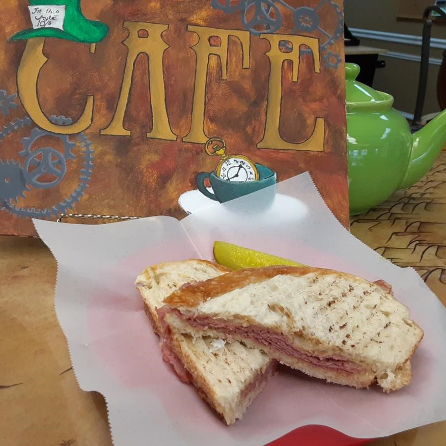 Our Lucky Leprechaun - a cornbeef sandwhich with Imported Irish Cheddar and Bourbon Whiskey Mustard!